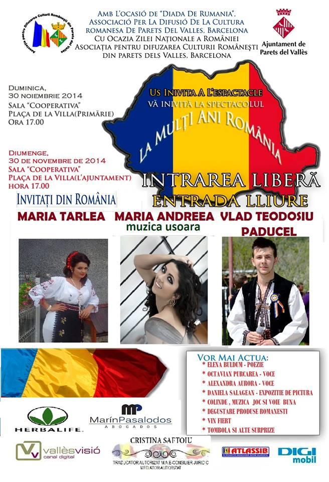 Barcelona: Asociația pentru Difuzarea Culturii Românești din Partes de Valles vă invită la petrecere de Ziua Națională