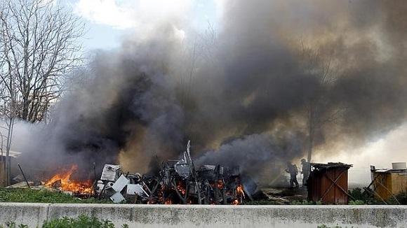 Spania: O tabără ilegală de români a luat foc