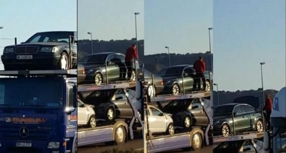 Fura din mașinile pe care le ducea în România. Nu știa că e filmat!