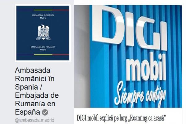 Ambasada României la Madrid, agent publicitar pentru compania PRIVATĂ Digi Mobil. Ce interese aveți, doamna ambasador Dancău?