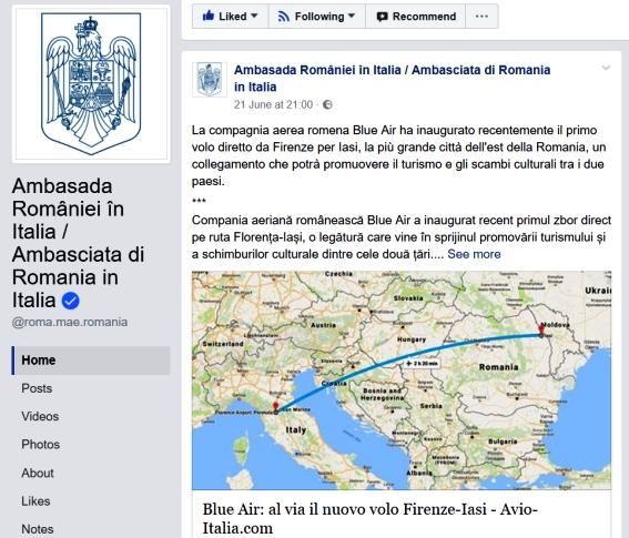 Ambasada României în Italia, agent comercial pentru Blue Air