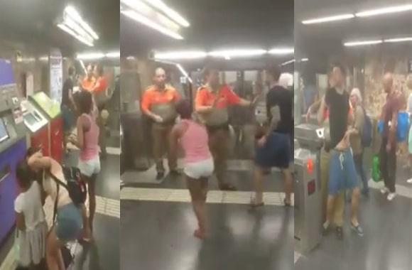 VEZI VIDEO – Doi țigani, interziși la metroul din Barcelona. I-au luat la bătaie pe agenții de pază